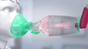 Particules dans une chambre d'inhalation pédiatrique TipsHaler avec masque cloisonné OrHal
