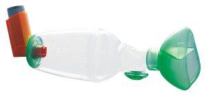 Chambre d'inhalation pédiatrique TipsHaler avec masque cloisonné OrHal pour aérosol-doseur