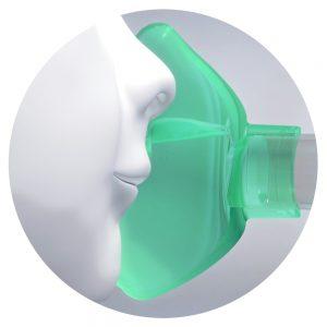 Coupe du masque cloisonné OrHal pour chambre d'inhalation